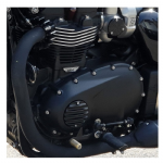 Motone Customs: Clutch Badge: Ribbed/Black Fins Bobber, Street Twin, T100/T120, Thruxton 1200.
